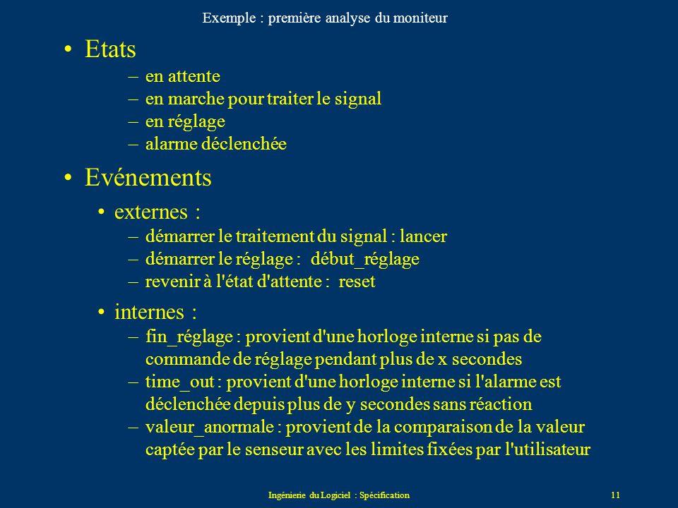 Ingénierie du Logiciel : Spécification10 Exemple complet le système est un moniteur qui reçoit le signal d'un senseur externe si le senseur est connec