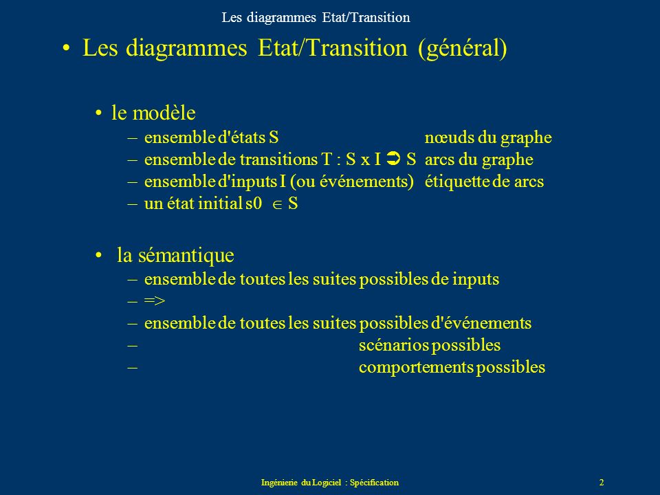 Ingénierie du Logiciel : Spécification2 Les diagrammes Etat/Transition Les diagrammes Etat/Transition (général) le modèle –ensemble d états S nœuds du graphe –ensemble de transitions T : S x I S arcs du graphe –ensemble d inputs I (ou événements)étiquette de arcs –un état initial s0 S la sémantique –ensemble de toutes les suites possibles de inputs –=> –ensemble de toutes les suites possibles d événements – scénarios possibles –comportements possibles
