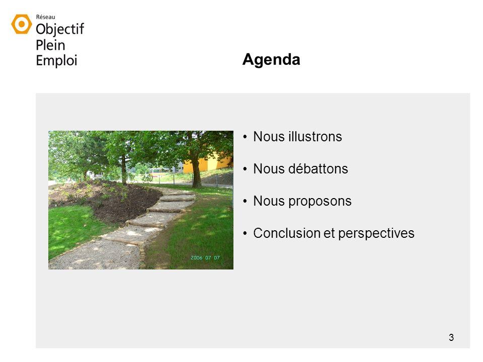 3 Agenda Nous illustrons Nous débattons Nous proposons Conclusion et perspectives