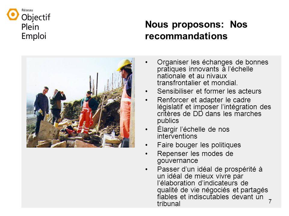 7 Nous proposons: Nos recommandations Organiser les échanges de bonnes pratiques innovants à léchelle nationale et au nivaux transfrontalier et mondial.