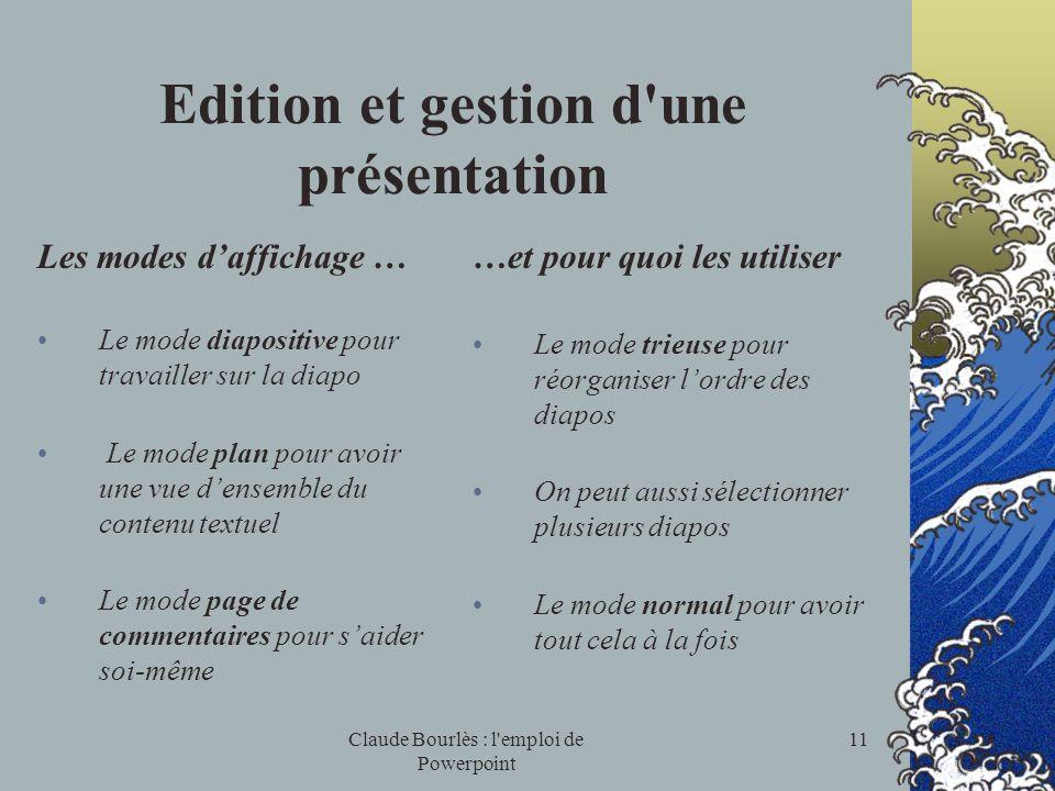 Claude Bourlès : l'emploi de Powerpoint 10 Modification du Diaporama Essayer de changer de modèle Quest-ce qui est changé ? le contenu ou laspect ? Es