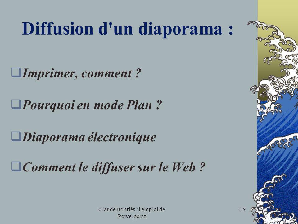 Claude Bourlès : l'emploi de Powerpoint 14 Diaporama électronique L e mode diaporama pour tester ou utiliser ce que lon a fait I ntroduire des transit