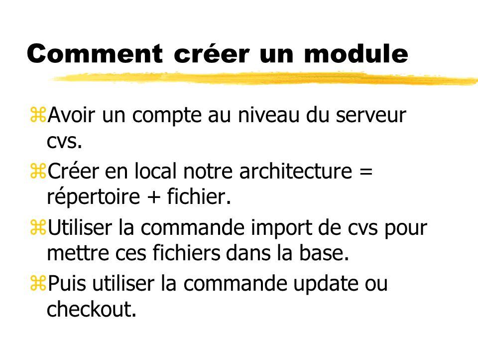 Conseils pour utiliser cvs zAvoir une architecture logicielle modulaire et bien définie. zFaire des « commit » à chaque modification importante. zUne