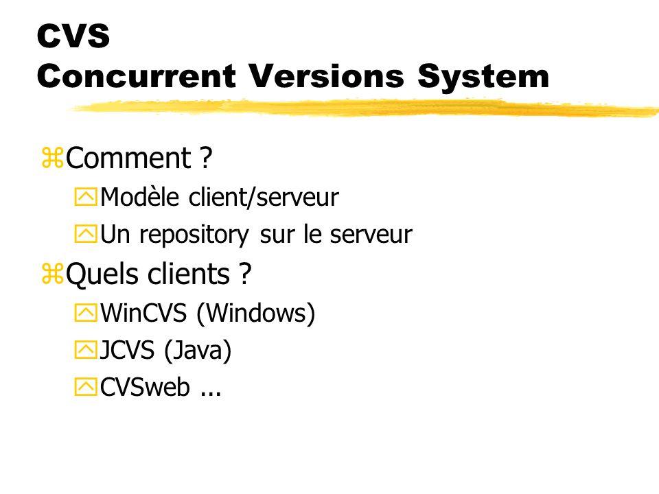 CVS Concurrent Versions System zPourquoi ? yPartage, centralisation de code yRécupération des dernières versions yRetour aux précédentes versions yDif