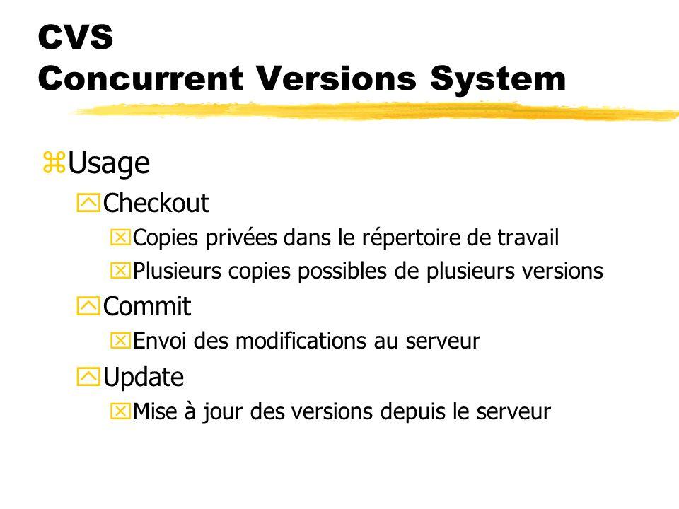 CVS Concurrent Versions System zUsage yCheckout xCopies privées dans le répertoire de travail xPlusieurs copies possibles de plusieurs versions yCommit xEnvoi des modifications au serveur yUpdate xMise à jour des versions depuis le serveur