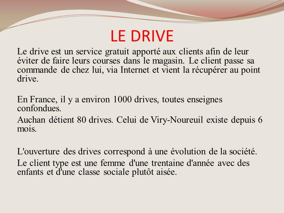 LE DRIVE Le drive est un service gratuit apporté aux clients afin de leur éviter de faire leurs courses dans le magasin. Le client passe sa commande d