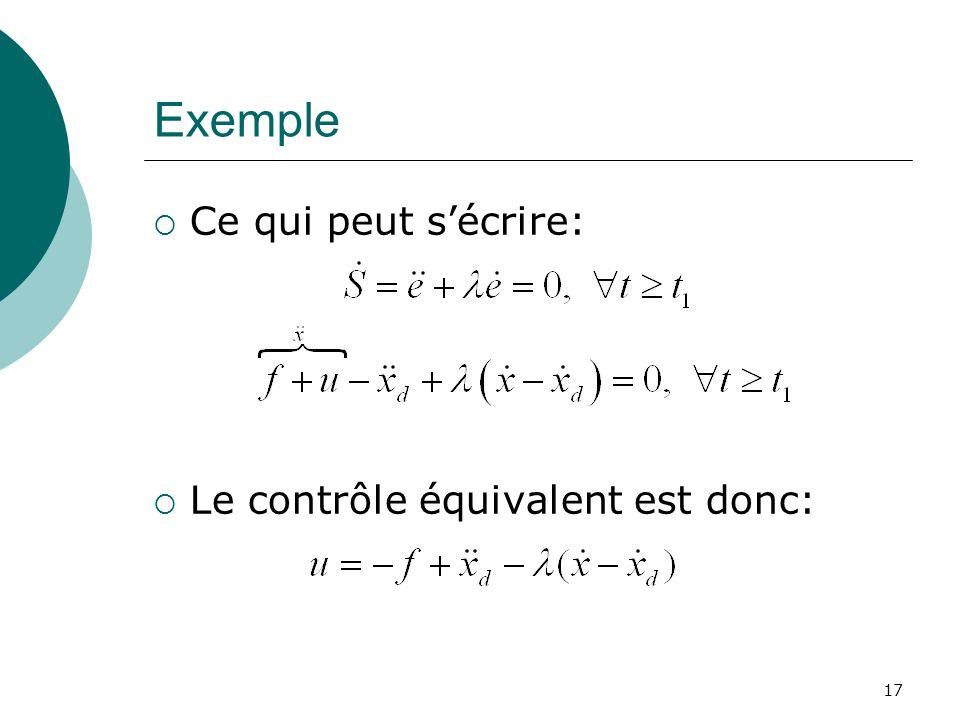 Exemple Ce qui peut sécrire: Le contrôle équivalent est donc: 17