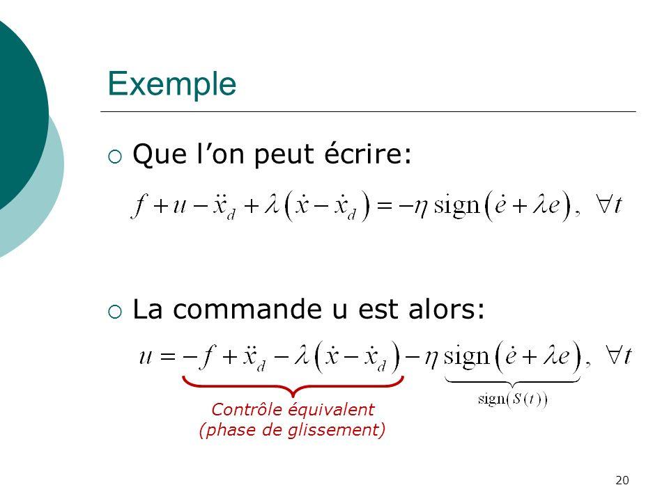 Exemple Que lon peut écrire: La commande u est alors: 20 Contrôle équivalent (phase de glissement)