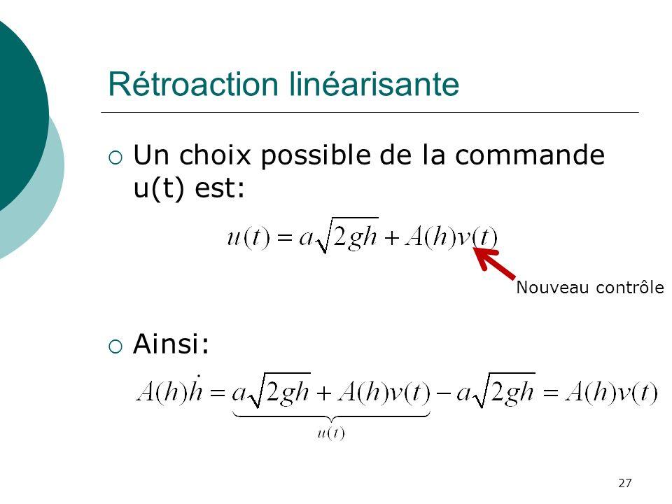 Rétroaction linéarisante Un choix possible de la commande u(t) est: Ainsi: 27 Nouveau contrôle