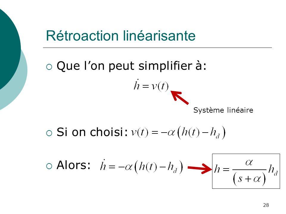 Rétroaction linéarisante Que lon peut simplifier à: Si on choisi: Alors: 28 Système linéaire