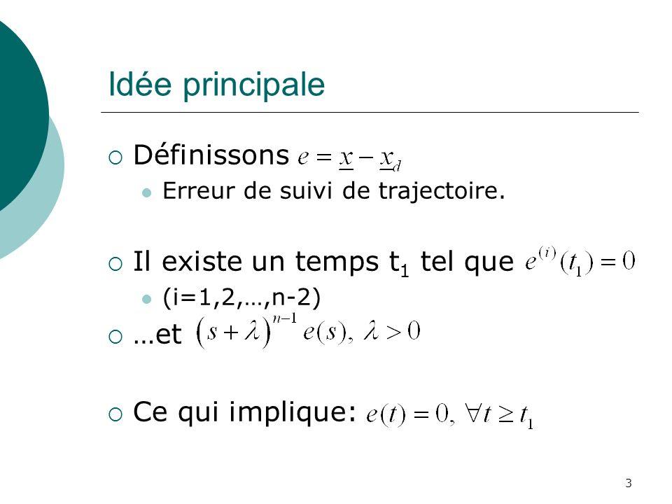 Idée principale Définissons Erreur de suivi de trajectoire. Il existe un temps t 1 tel que (i=1,2,…,n-2) …et Ce qui implique: 3