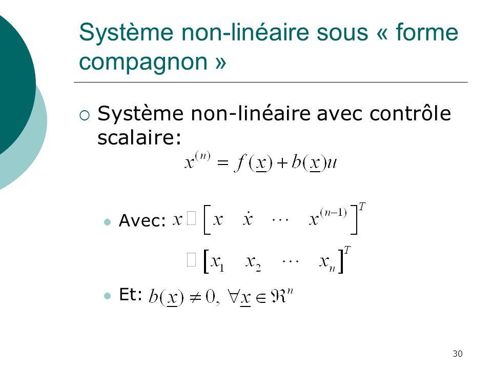 Système non-linéaire sous « forme compagnon » Système non-linéaire avec contrôle scalaire: Avec: Et: 30
