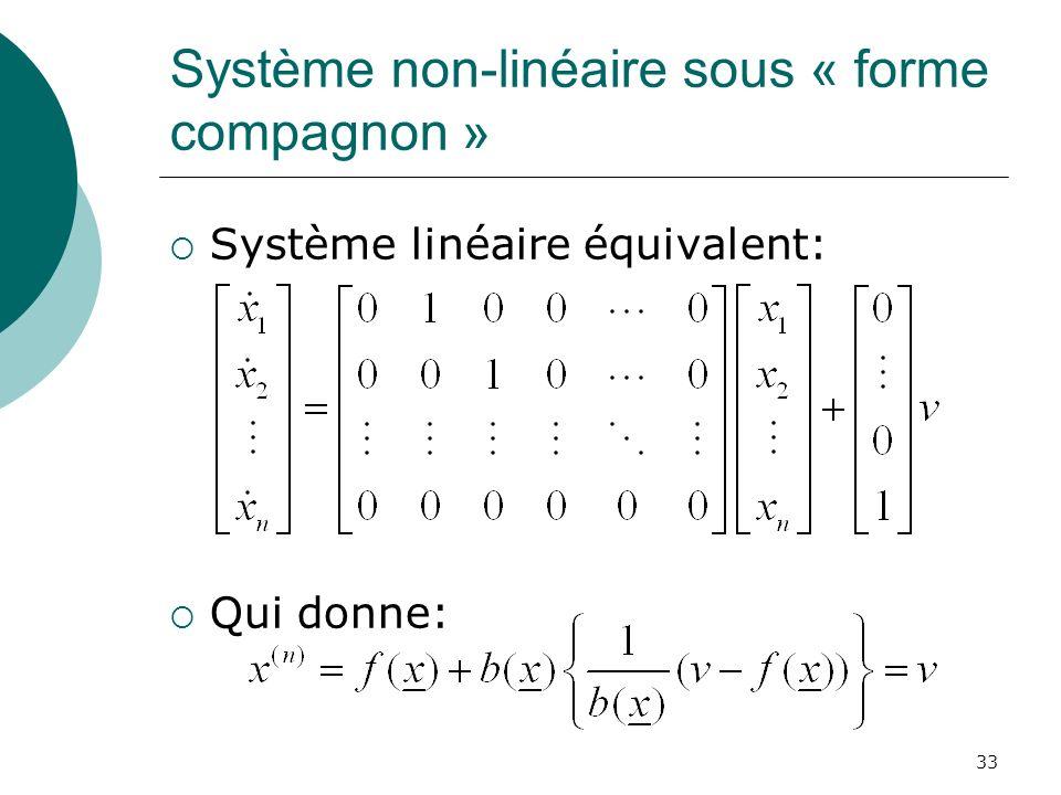 Système non-linéaire sous « forme compagnon » Système linéaire équivalent: Qui donne: 33