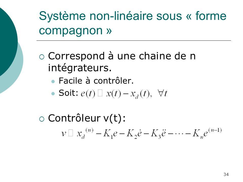 Système non-linéaire sous « forme compagnon » Correspond à une chaine de n intégrateurs. Facile à contrôler. Soit: Contrôleur v(t): 34