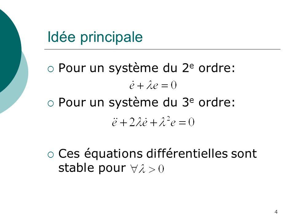 Idée principale Pour un système du 2 e ordre: Pour un système du 3 e ordre: Ces équations différentielles sont stable pour 4