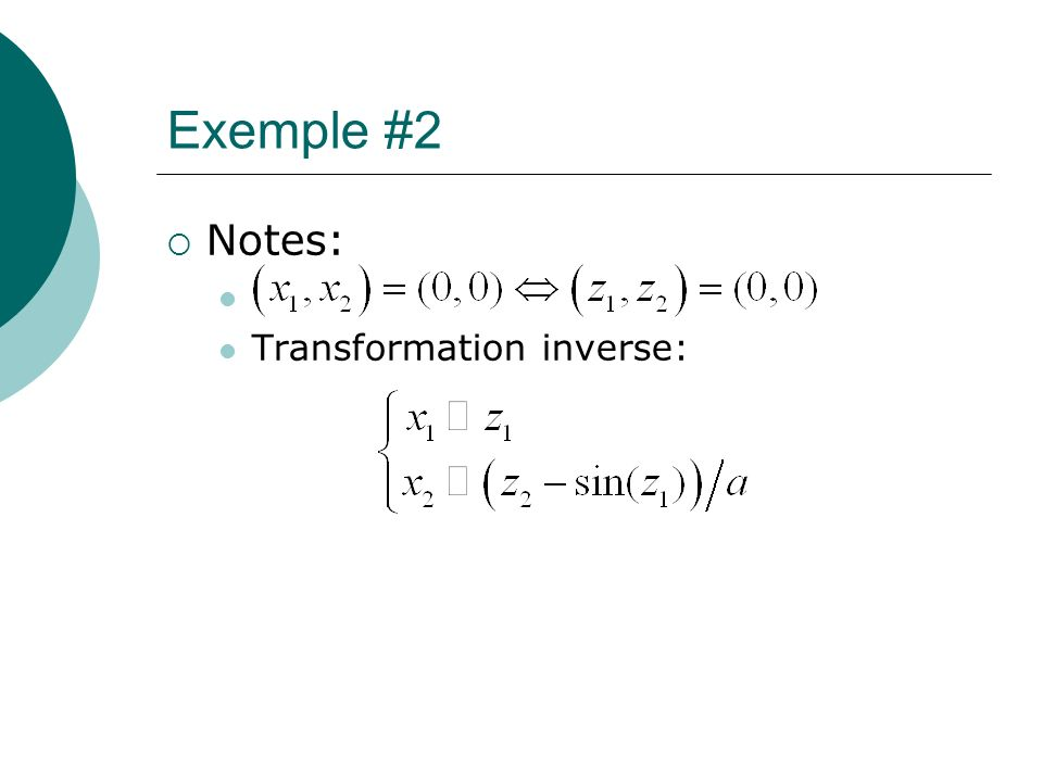 Exemple #2 Notes: Transformation inverse: