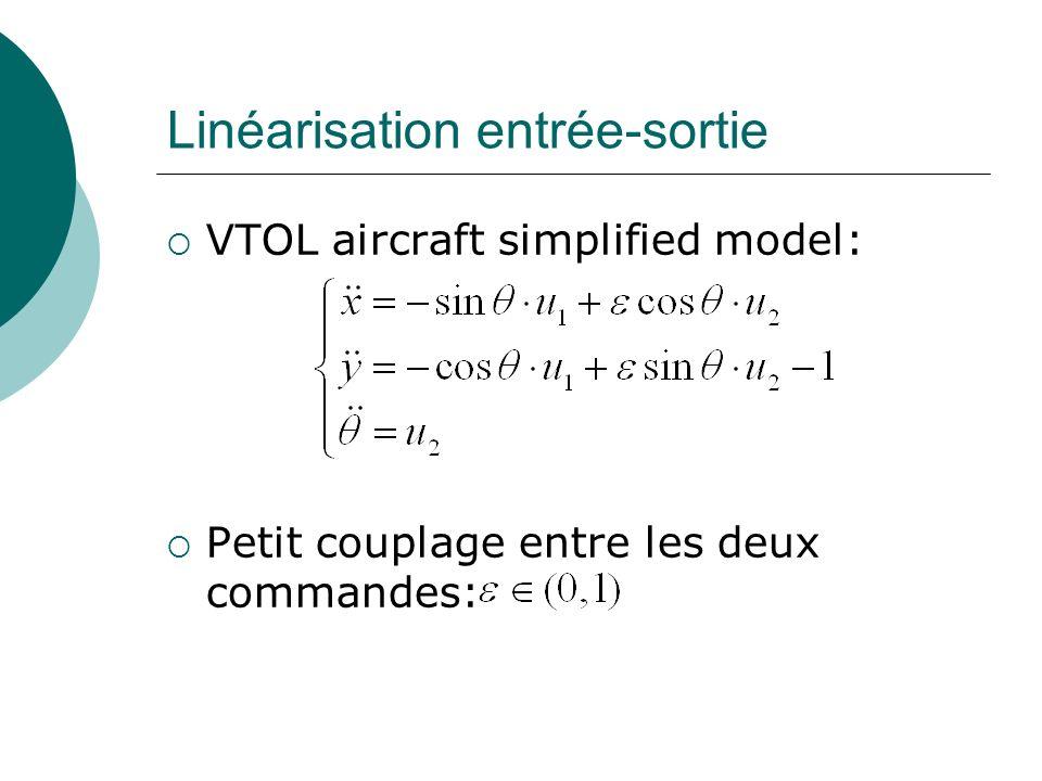 Linéarisation entrée-sortie VTOL aircraft simplified model: Petit couplage entre les deux commandes: