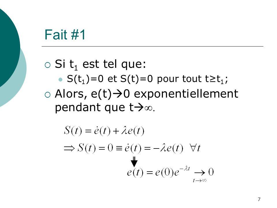 Fait #1 Si t 1 est tel que: S(t 1 )=0 et S(t)=0 pour tout tt 1 ; Alors, e(t) 0 exponentiellement pendant que t. 7