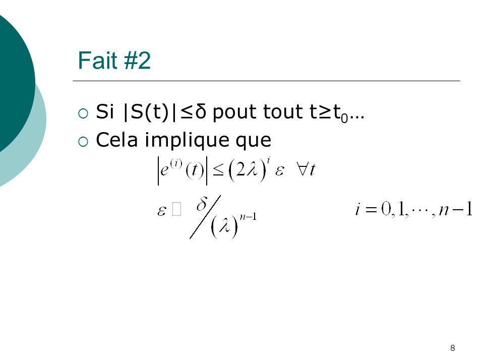 Fait #2 Si |S(t)|δ pout tout tt 0 … Cela implique que 8