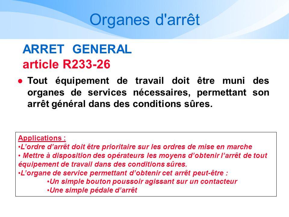 Organes d'arrêt ARRET GENERAL article R233-26 l Tout équipement de travail doit être muni des organes de services nécessaires, permettant son arrêt gé