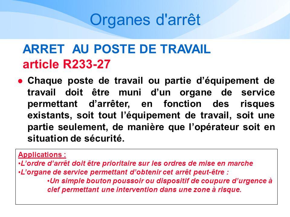 Organes d'arrêt ARRET AU POSTE DE TRAVAIL article R233-27 l Chaque poste de travail ou partie déquipement de travail doit être muni dun organe de serv