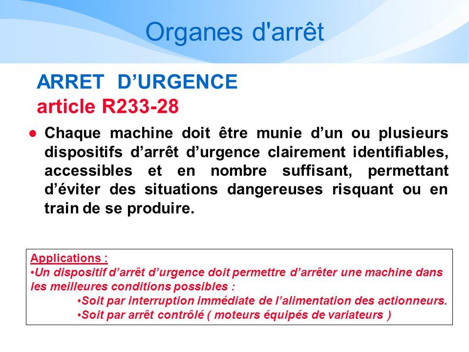 Organes d'arrêt ARRET DURGENCE article R233-28 l Chaque machine doit être munie dun ou plusieurs dispositifs darrêt durgence clairement identifiables,
