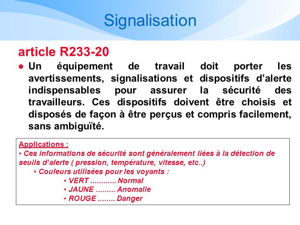 Signalisation article R233-20 l Un équipement de travail doit porter les avertissements, signalisations et dispositifs dalerte indispensables pour ass