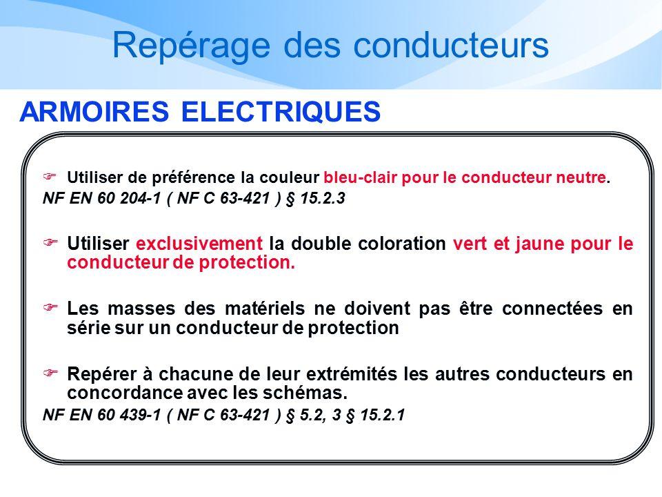 Repérage des conducteurs ARMOIRES ELECTRIQUES Utiliser de préférence la couleur bleu-clair pour le conducteur neutre. NF EN 60 204-1 ( NF C 63-421 ) §