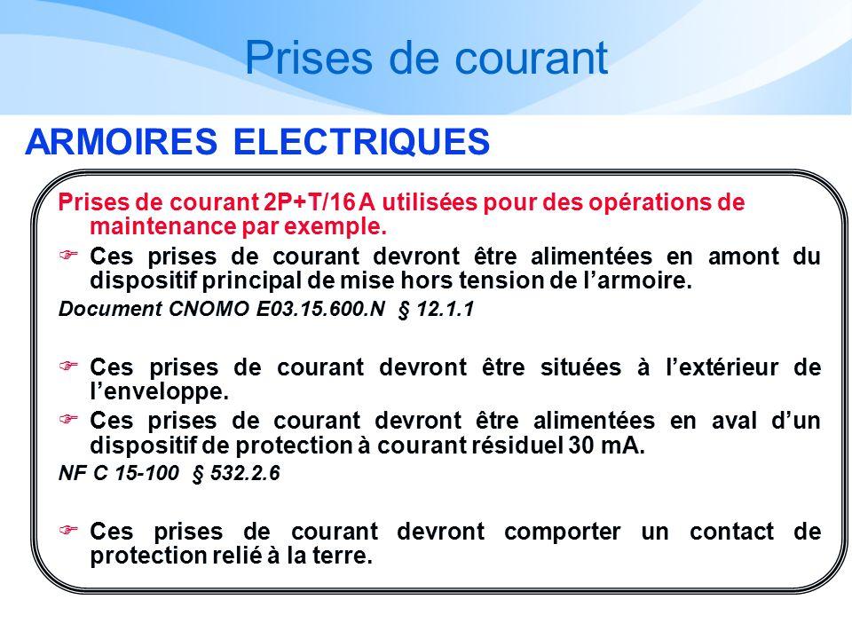 Prises de courant ARMOIRES ELECTRIQUES Prises de courant 2P+T/16 A utilisées pour des opérations de maintenance par exemple. Ces prises de courant dev