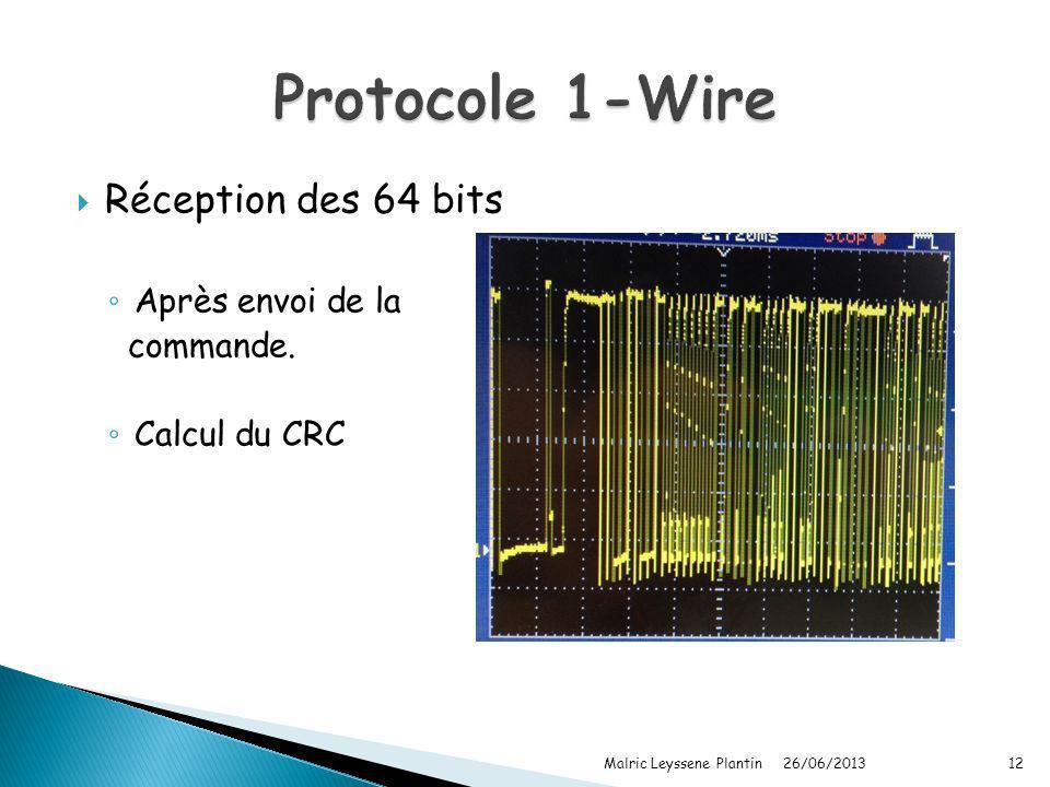 Réception des 64 bits Après envoi de la commande. Calcul du CRC 26/06/2013 Malric Leyssene Plantin12