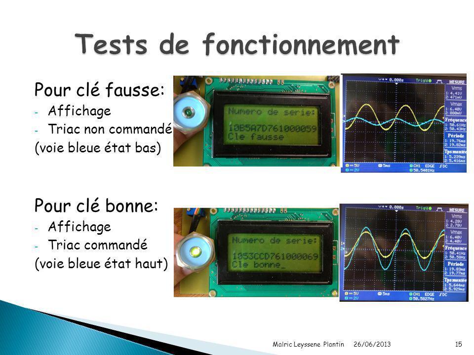 Pour clé fausse: - Affichage - Triac non commandé (voie bleue état bas) Pour clé bonne: - Affichage - Triac commandé (voie bleue état haut) 26/06/2013