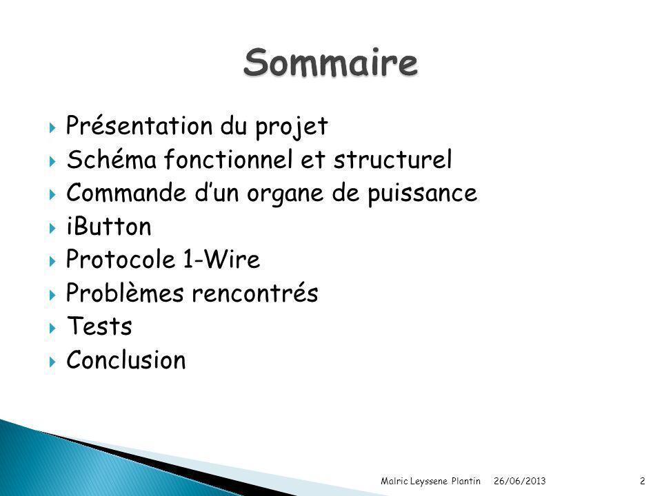 Présentation du projet Schéma fonctionnel et structurel Commande dun organe de puissance iButton Protocole 1-Wire Problèmes rencontrés Tests Conclusio