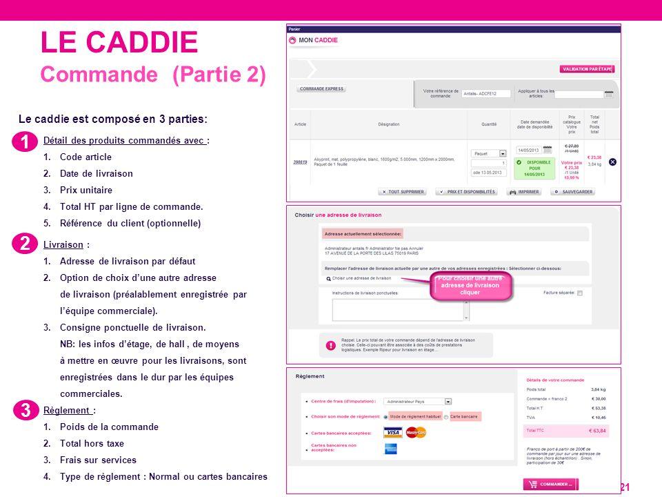 LE CADDIE 21 Commande (Partie 2) 1 2 3 Le caddie est composé en 3 parties: Détail des produits commandés avec : 1.Code article 2.Date de livraison 3.P