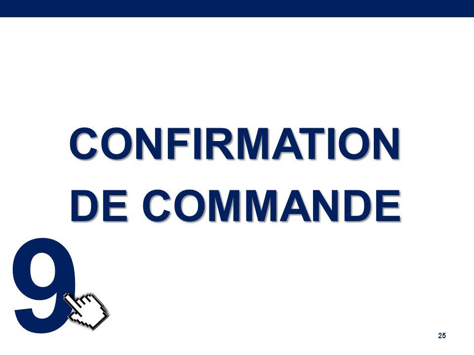 CONFIRMATION DE COMMANDE 25 9