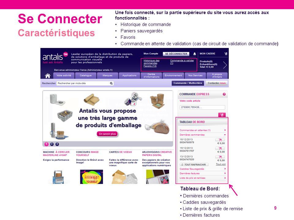 Se Connecter 9 Caractéristiques Une fois connecté, sur la partie supérieure du site vous aurez accès aux fonctionnalités : Historique de commande Pani