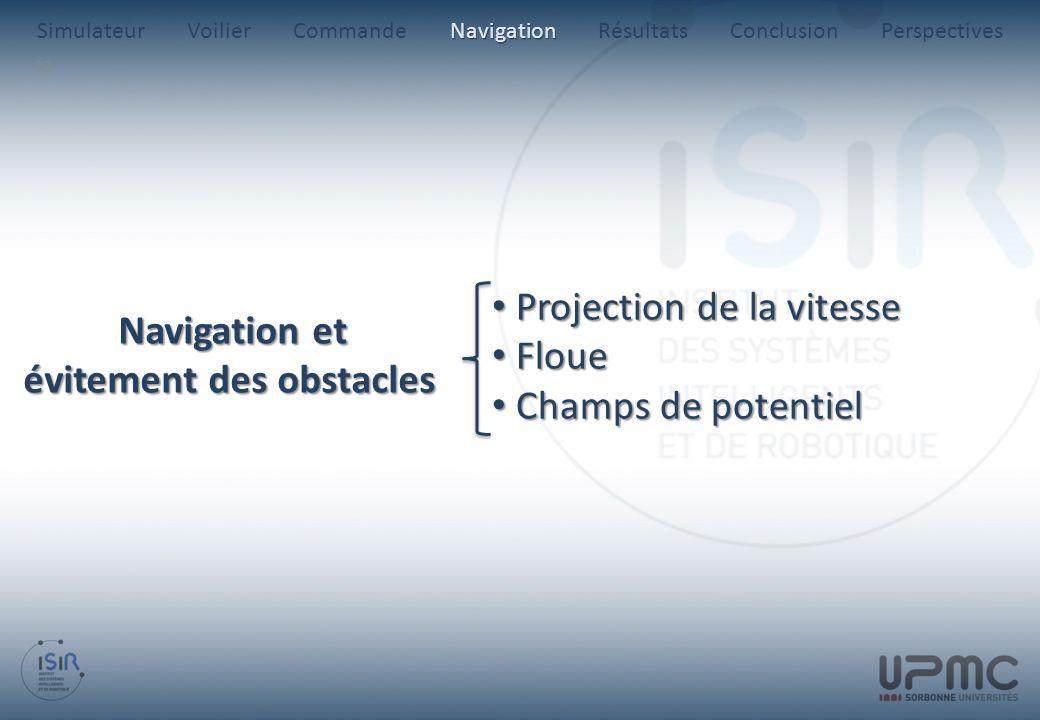 33 Projection de la vitesse Projection de la vitesse Floue Floue Champs de potentiel Champs de potentiel Navigation et évitement des obstacles Navigat