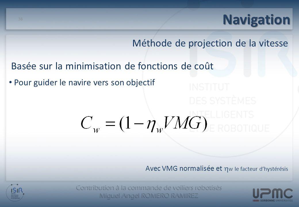 Navigation Méthode de projection de la vitesse 38 Pour guider le navire vers son objectif Basée sur la minimisation de fonctions de coût Avec VMG norm