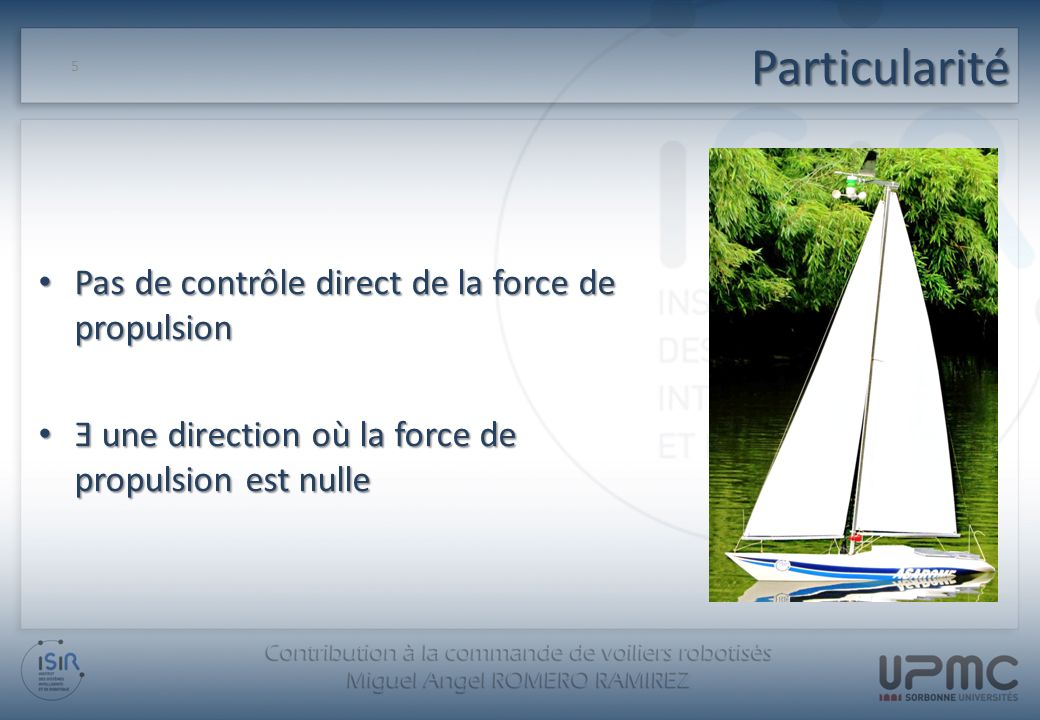Particularité Deux entrées de commande disponibles : 6 Angle de bôme, qui modifie la force de propulsion Angle de safran, qui fait changer le cap du bateau
