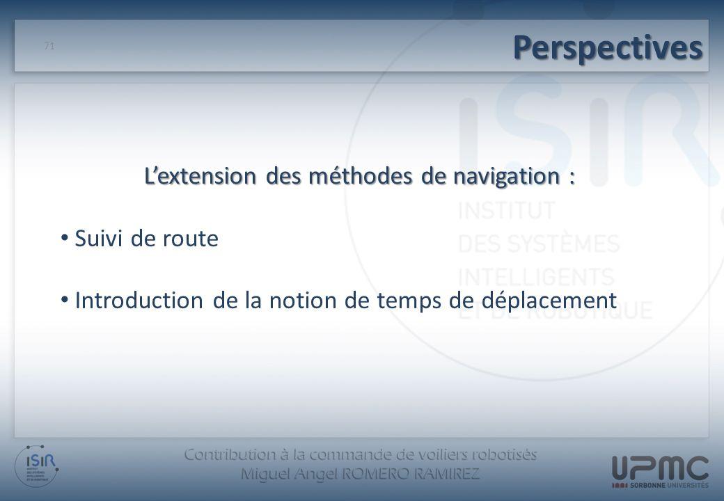 Perspectives 71 Lextension des méthodes de navigation : Suivi de route Introduction de la notion de temps de déplacement