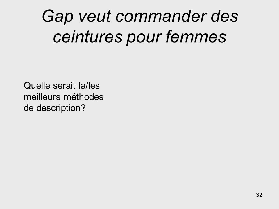 Gap veut commander des ceintures pour femmes 32 Quelle serait la/les meilleurs méthodes de description?