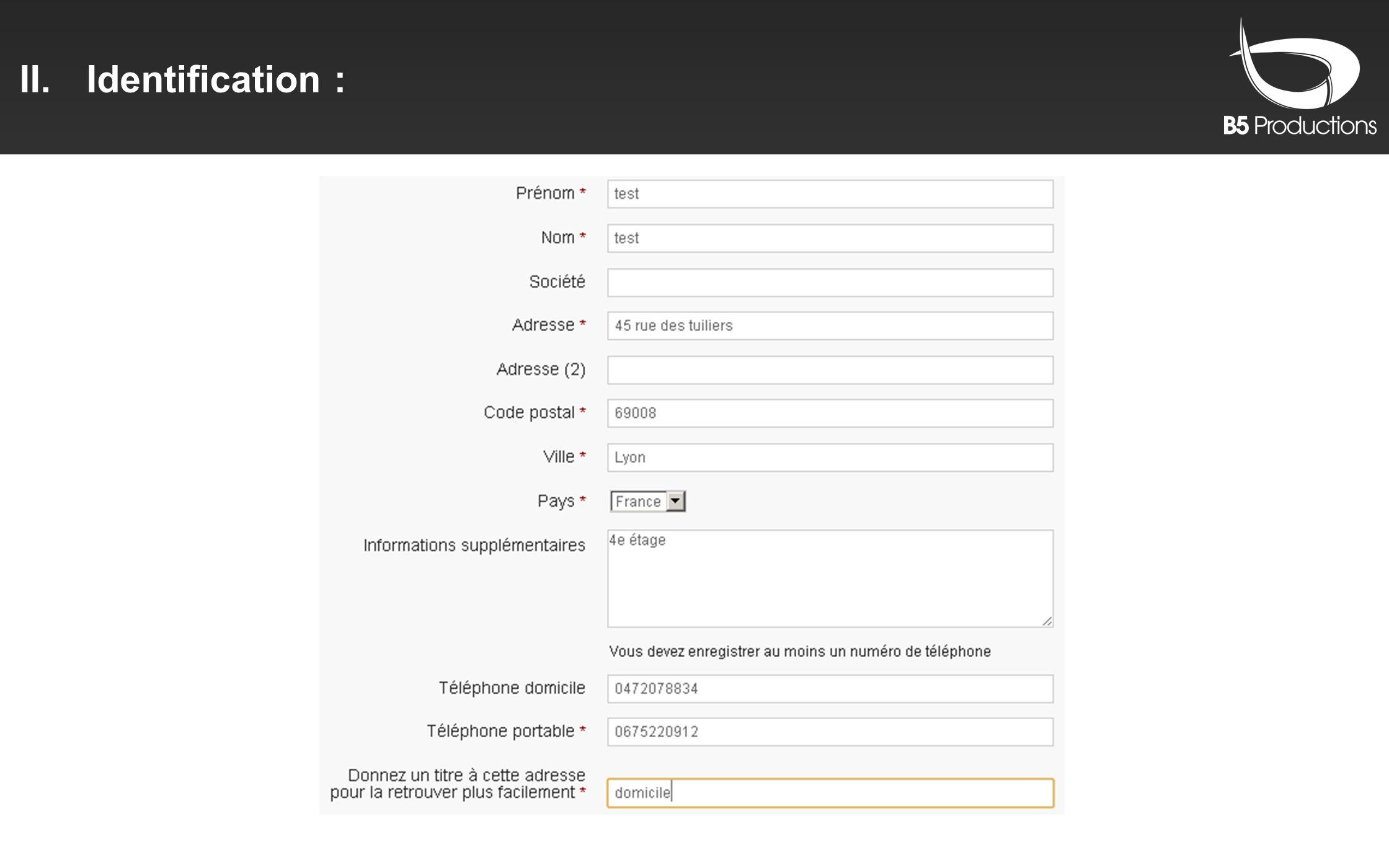II.Identification :