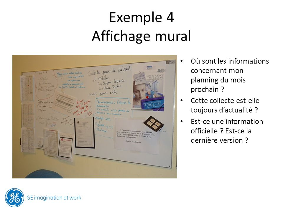 Exemple 4 Affichage mural Où sont les informations concernant mon planning du mois prochain ? Cette collecte est-elle toujours dactualité ? Est-ce une