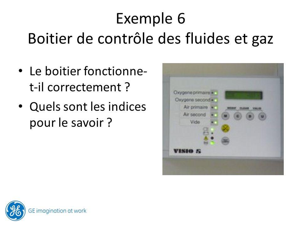 Exemple 6 Boitier de contrôle des fluides et gaz Le boitier fonctionne- t-il correctement ? Quels sont les indices pour le savoir ?