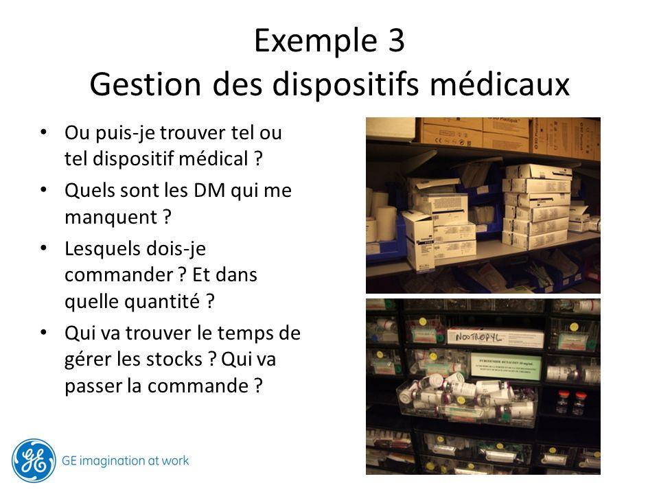 Signal visuel : la couleur du bac identifie le type de dispositif médical : bleu = respiratoire, rouge = veineux, jaune = pansement Double étiquetage : Bac + étagère.