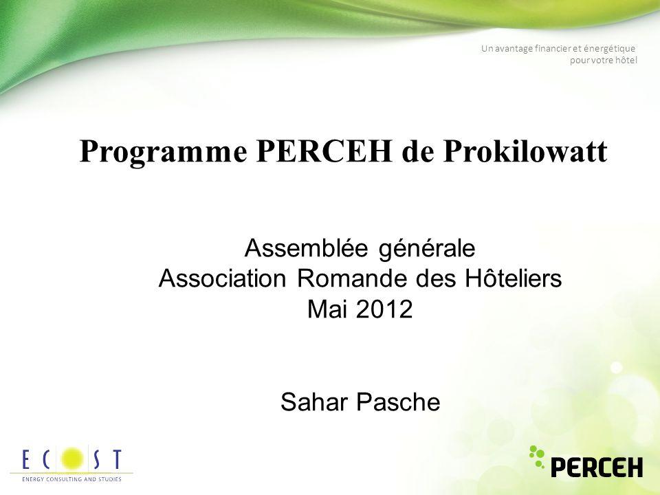 Un avantage financier et énergétique pour votre hôtel Programme PERCEH de Prokilowatt Assemblée générale Association Romande des Hôteliers Mai 2012 Sa