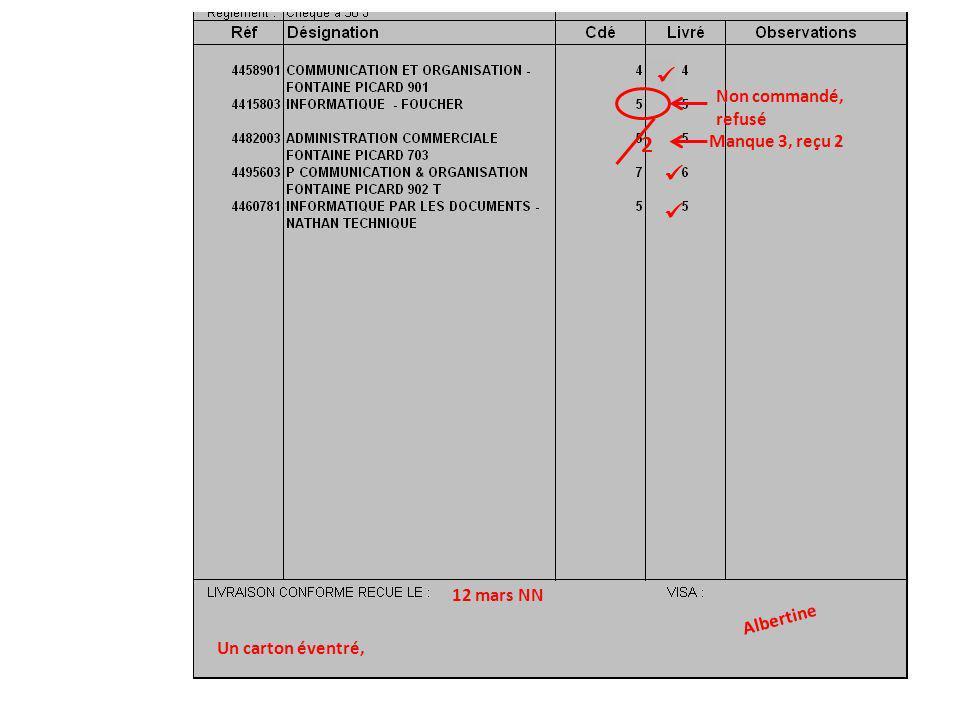 Manque 3, reçu 2 2 Non commandé, refusé Un carton éventré, 12 mars NN Albertine