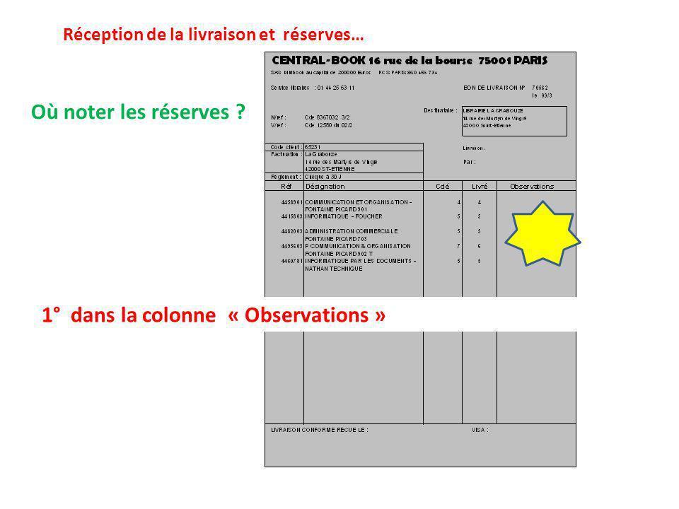 Où noter les réserves ? Réception de la livraison et réserves… 1° dans la colonne « Observations »