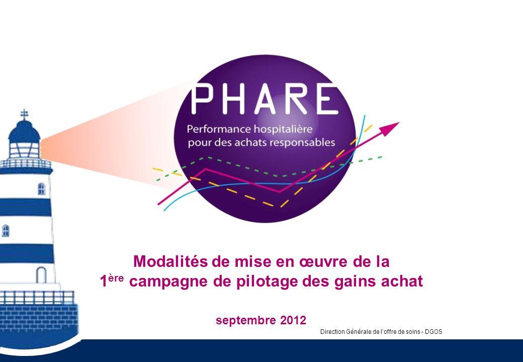 Modalités de mise en œuvre de la 1 ère campagne de pilotage des gains achat septembre 2012 Direction Générale de loffre de soins - DGOS