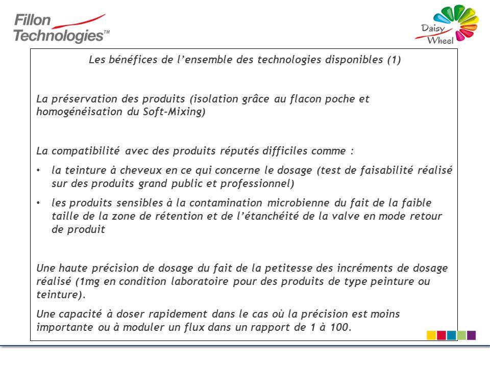 Les bénéfices de lensemble des technologies disponibles (1) La préservation des produits (isolation grâce au flacon poche et homogénéisation du Soft-M