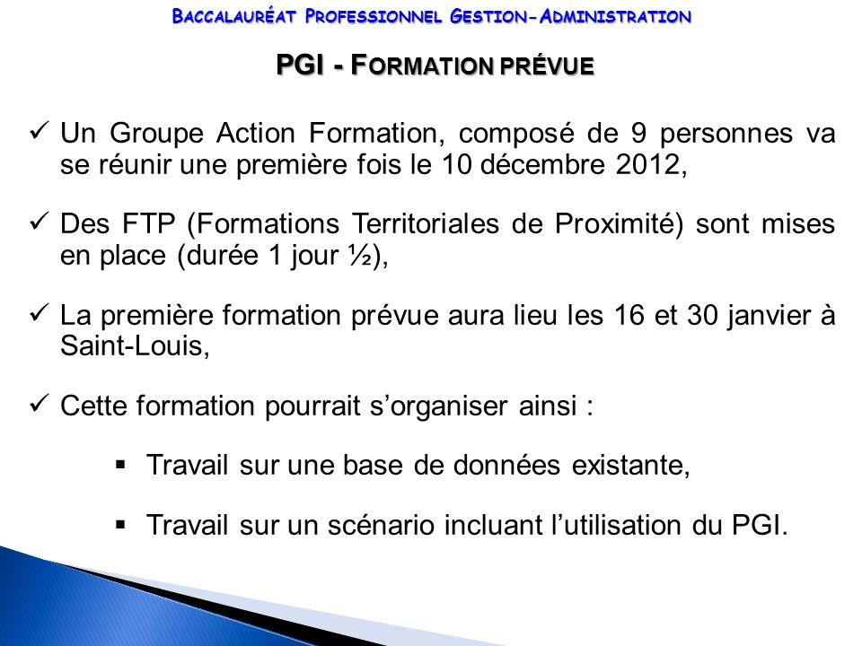 B ACCALAURÉAT P ROFESSIONNEL G ESTION -A DMINISTRATION PGI - F ORMATION PRÉVUE PGI - F ORMATION PRÉVUE Un Groupe Action Formation, composé de 9 person